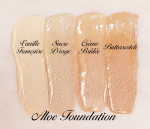 4 nuances du fond de teint Aloe Foundation