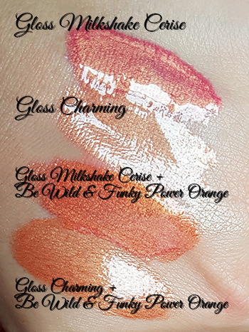 Gloss Milkshake Cerise et Gloss Charming mélangés avec le pigment pur Power Orange dans la gamme Be Wild & Funky