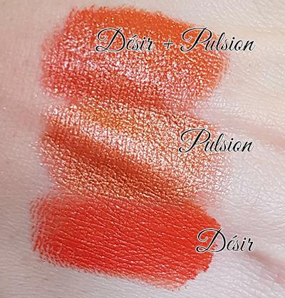 Superposition de différents finis monochrome : Rouge à lèvres Désir (orange mat vibrant) avec Pulsion (orangé doré pailleté).