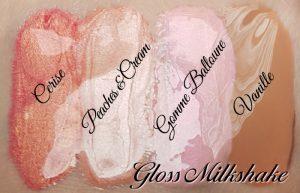 4 nuances du Gloss Milkshake